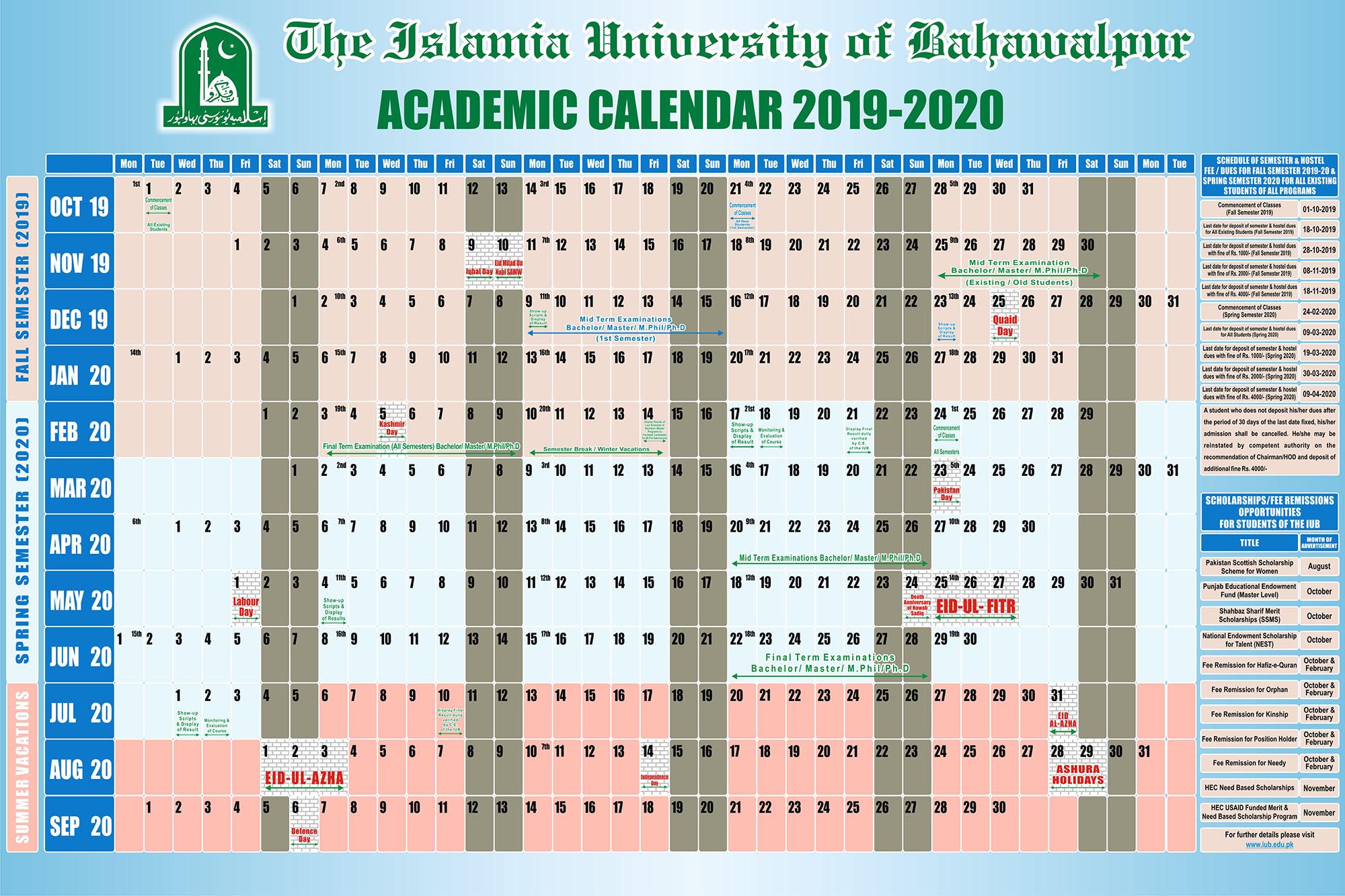 Iu Academic Calendar Spring 2022.Academic Calendar For The Year 2019 20 Iub The Islamia University Of Bahawalpur