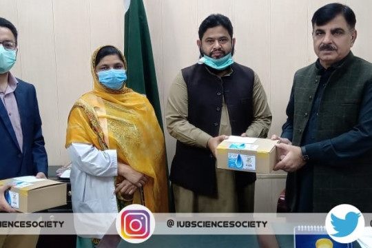 IUB Science Society and IEEE handed over hand sanitizers to MS Bahawalpur Victoria Hospital