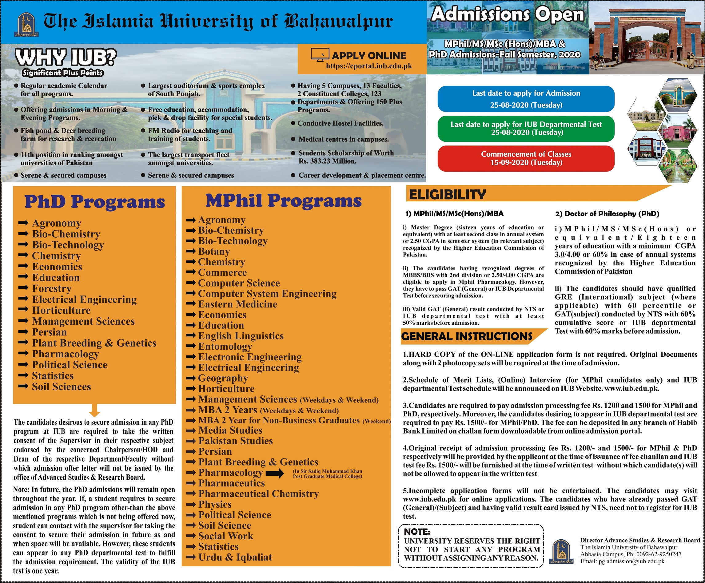 MPhil PhD Admission Advertisement Fall-2020