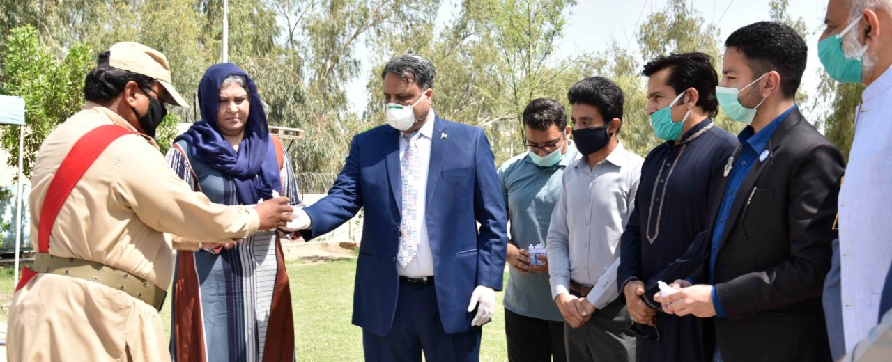 Worthy Vice Chancellor distributed hand sanitizers among on duty employees