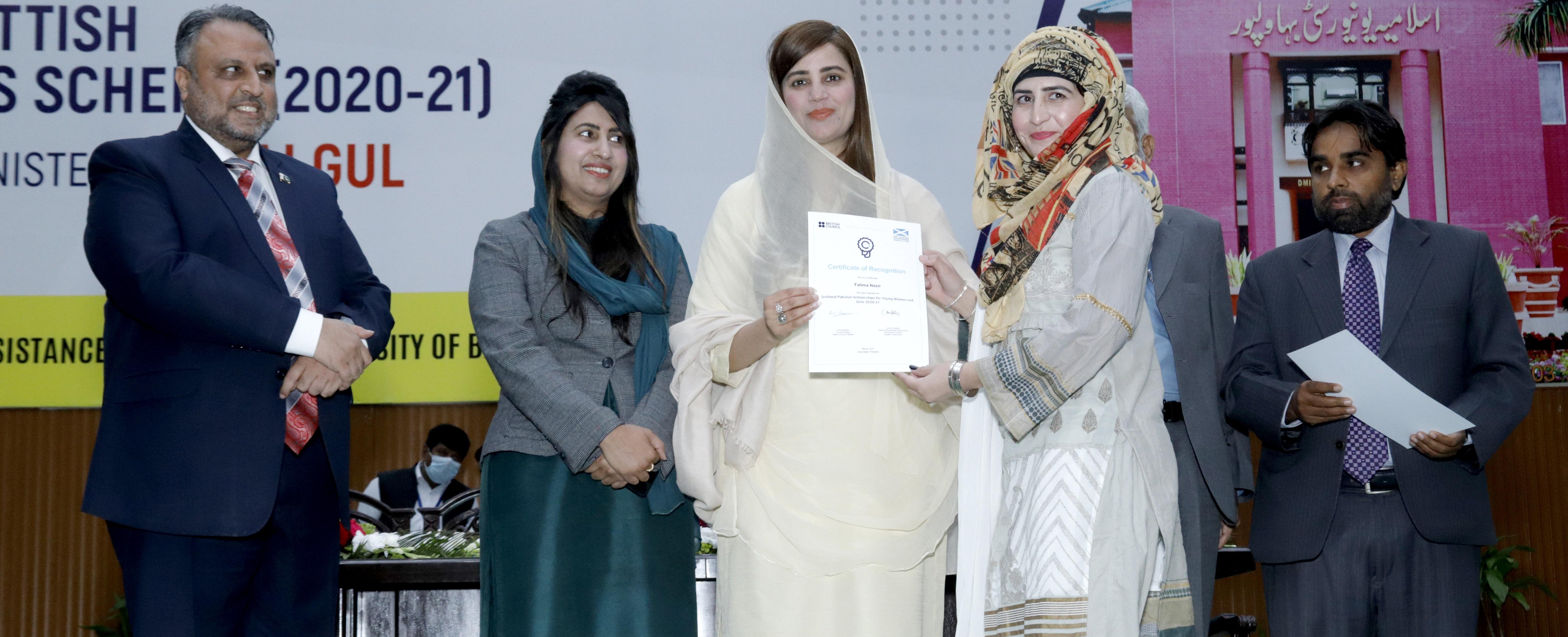 Federal Minister of State, Ms. Zartaj Gul Awards Pakistan Scottish Scholarships to 71 Female IUB Graduates